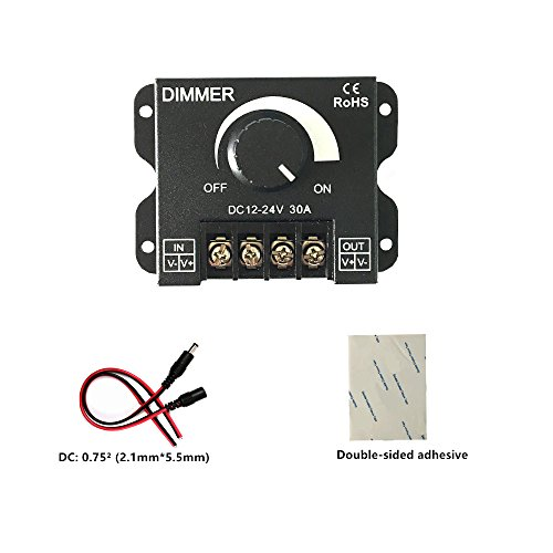 Pwm Dimmer (HUALAND PWM 12V 24V 30A/720W LED Dimmer Controller for Single Color LED Strip Lighting Lamp Ribbon Light Black Button Control Brightness)