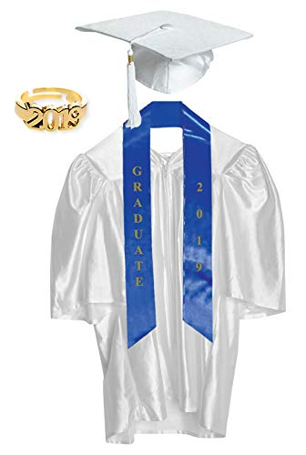Small White Shiny Preschool and Kindergarten Graduation Cap and Gown, Tassel and 2019 Charm]()