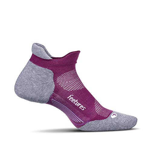 Feetures Elite Max Cushion No Show Tab Athletic Running Socks for Men and Women - Ruby - Size Small