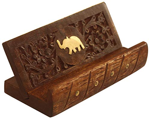 Carving Brass (Best Monday Deals - Crafkart Wooden Mobile Stand, Carving Elephant Inlay with Brass Strip Mobile Holder, Visiting Card Holder)
