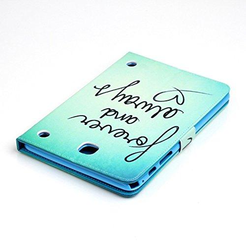 Samsung Galaxy Tab A 8.0 T350 Cuero Funda de Piel Tipo Libro con Tapa, Funda Cuero y Billetara para Samsung Galaxy Tab A 8.0 T350, TOCASO Multi-Colors Fashionable Pattern Flor en Relieve Cover Fina co Forever Love