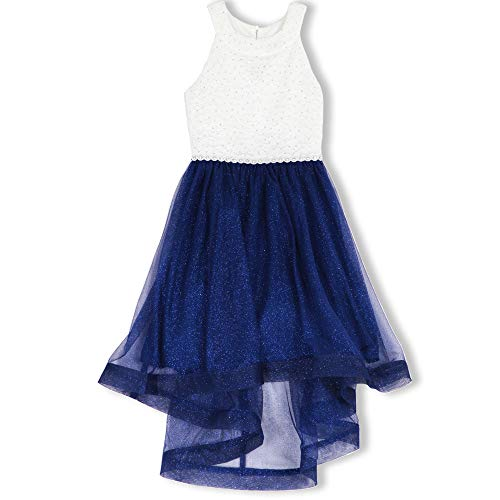 Speechless Girls' Big 7-16 Tween Sparkle Waist Party Dress with Wide Ribbon Hem, Ivory and Cobalt, 14