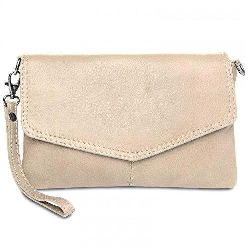 CASPAR TA322 Womens Napa Leather Evening Clutch Cream white