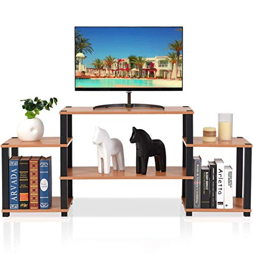 Tangkula TV Stand Home Living Room Modern Wood Entertainment Media Center Storage Console w Drawer and Display Shelf TV Cabinet Natural top with Black Frame