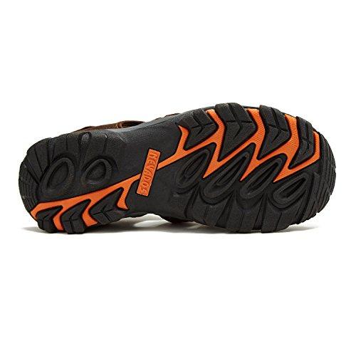 Nevados Hombres Newton Bump Toe Sandalia Con Correa Elástica Marrón Oscuro / Naranja