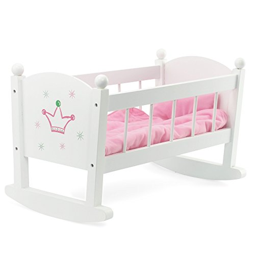 Baby Doll Cradle or Crib Rocking Furniture | Fits Baby Dolls and 18 Inch American Girl Dolls | Includes Mattress & Quilted Bedding