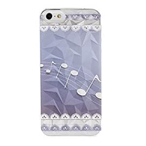 GONGXI Music Note and Lace Pattern Diamond Effect Surface Plastic Hard Case for iPhone 5/5S