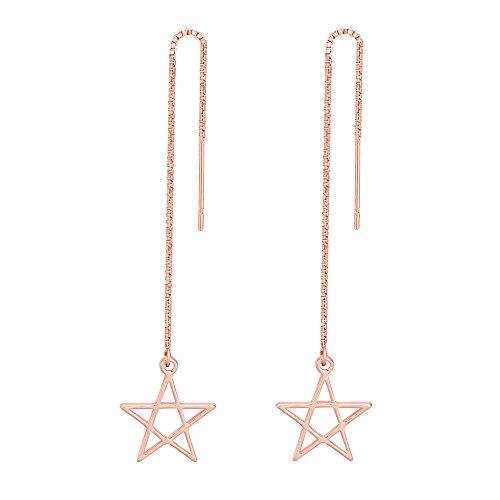 TUSHUO Charms Pentacle Pentagram Earrings Minimalism Hollow Star Dangle Earrings for Women (Rose Gold)