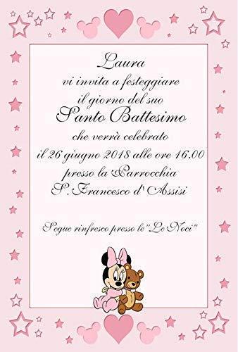 Biglietti Inviti Battesimo Personalizzati Minnie Topolina Baby Rosa