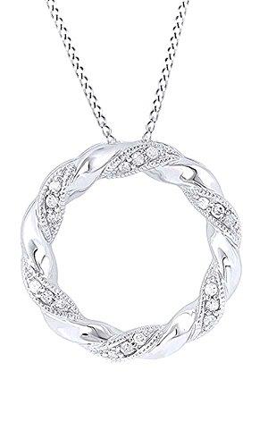 White Natural Diamond Accent Ribbon Circle Pendant Necklace In 10k White Gold (0.05 (Diamond Ribbon Circle Pendant)