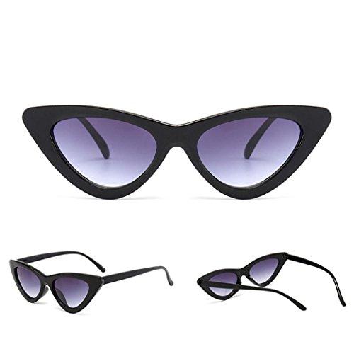 Kanzd Women Vintage Cat Eye Sunglasses Retro Twin-Beams Classic Metal Frame Mirror Sunglasses Laddy (C1)
