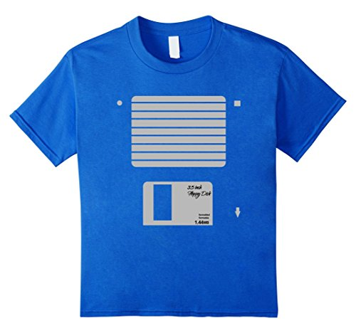 [Kids USB Floppy Disk Geek Computer Nerd Halloween Costume T-Shirt 10 Royal Blue] (80s Nerd Costume)