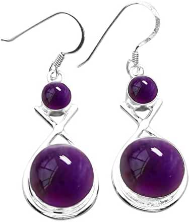 15.00ctw Genuine & Created Gemstone & 925 Silver Plated Dangle Earrings Made By Sterling Silver Jewelry
