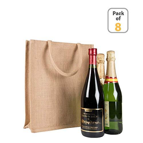 8 Pieces - Burlap 3 Bottle Wine Bag - Natural Laminated Jute Wine Tote Bag(3 Bottle Holder) 100% Eco-Friendly Reusable Wine Bag With Handles Natural, (12 x 14 x 4) Bagshop181