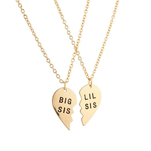 Lux Accessories Big Sis Lil Sis Little Sister BFF Best Friends Forever Detachable Heart Broken Heart Necklace Set (2 Pc)