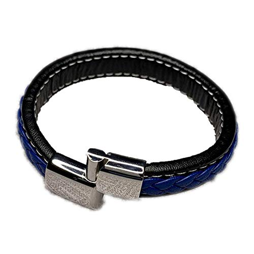 Men Handmade Jewelry Black Blue Braided Leather Mens Bracelets Stainless Steel Magnetic Clasp Mens Bracelet Charm,Silver 185mm