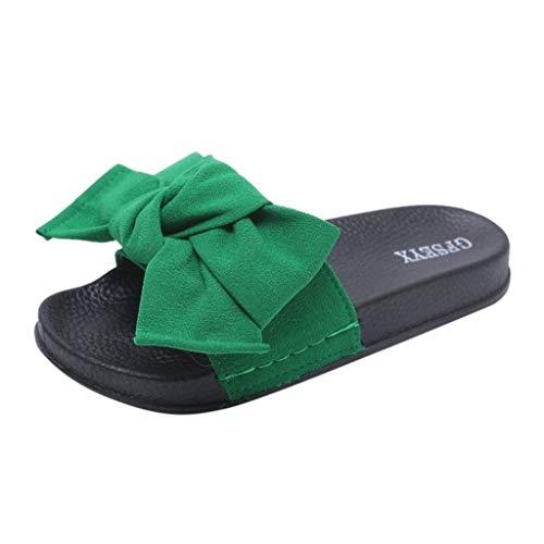 MILIMIEYIK Beach Sandals for Women, Slide Sandals for Women/Cork Sole/Canvas Knot Bow/Womens Slides/Sandals for Women 9 Pink