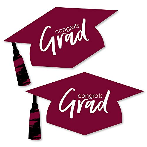 Maroon Grad - Best is Yet to Come - Graduation Hat Decorations DIY Burgundy Graduation Large Party Essentials - 20 Count