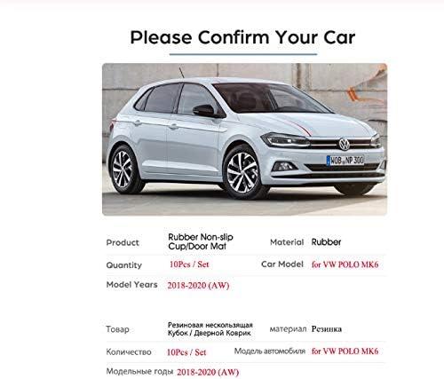 linfei Tappetino Antiscivolo in Gomma con Fessura per Cancello per Volkswagen VW Polo 2018-2020 Mk6 Accessori per Auto