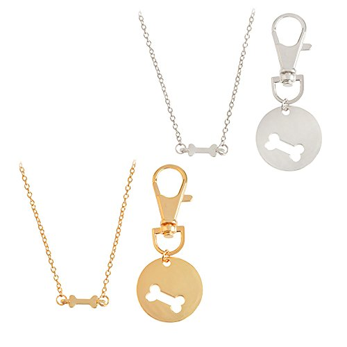 Meiligo Fashion 2 Pcs Best Friends Friendship Gold Silver Dog Bone Charm Tag Necklace Key Chain Owner and Dog Jewelry Matching Pet Collar Key Chain Pendant