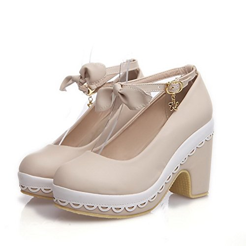 AllhqFashion Womens Round Closed Toe High-Heels Soft Material Pumps-Shoes With Charms Beige KdwMb