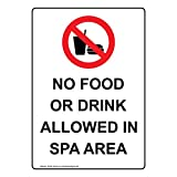 ComplianceSigns Vertical Aluminum No Food Or Drink Allowed In Spa Area Sign, 14 x 10 in. with English Text and Symbol, White