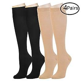 4 Pairs Compression Socks For Women and Men — Best Athletic, Edema, Diabetic,Varicose Veins , Maternity, Travel, Flight Socks – Running, Fitness -15-20mmHg. (L/XL, Assort2)