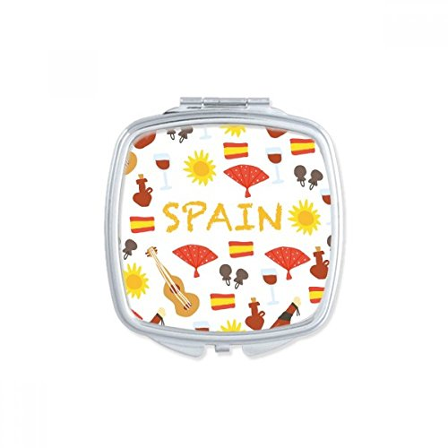 Spain Flamenco Music Food Square Compact Makeup Pocket Mirror Portable Cute Small Hand Mirrors Gift by DIYthinker
