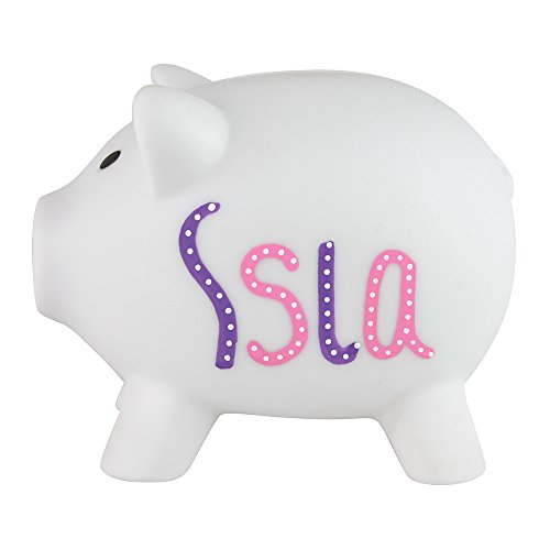 eBuyGB Personalized Piggy Bank - Plastic Customized Money Box for Coins & Cash Gift - Saving for Girls and Boys - White