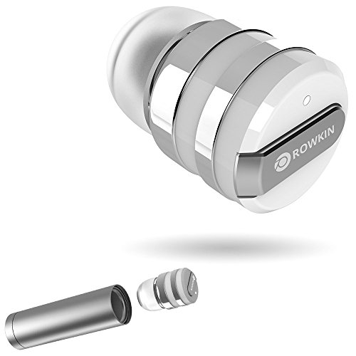 Rowkin Mini Plus+ True Wireless Earbud, Bluetooth Headphone w/ Mic. Smallest Cordless Hands-free Stereo Earphone Headset w/ Charging Case for Android and iPhone (BUY 2 for Stereo Sound) - Silver