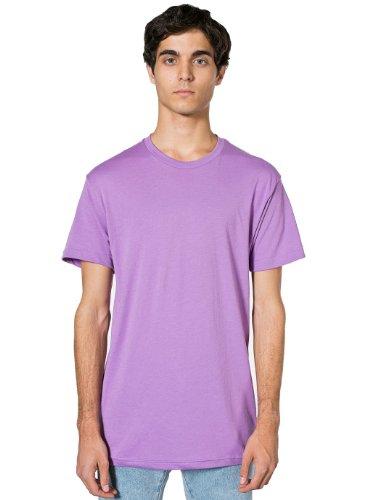 Unisex Short Sleeve Crew Shirt - American Apparel Poly-Cotton Short Sleeve Crew Neck, Orchid, Medium
