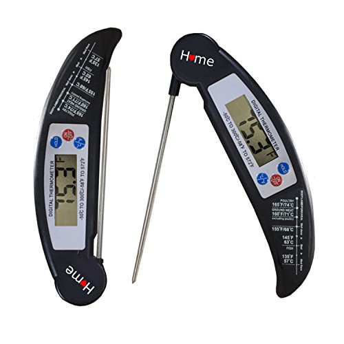 Home Ultra Fast Instant Read Digital Meat Thermometer with Extra Long Stainless Probe and Calibration function. Best for BBQ, cooking, candy, tea, kitchen use.