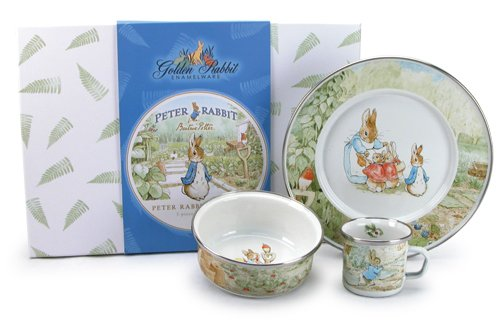 Price comparison product image Enamelware - Peter Rabbit Pattern - Kids 3 Piece Giftboxed with 4 Ounce Mug, 14 Ounce Bowl and 8½ Inch Plate