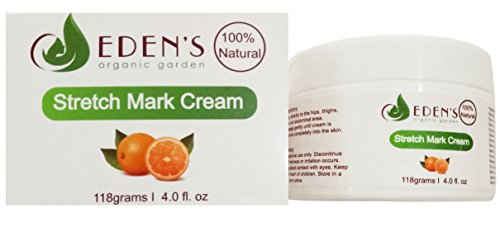 Stretch Marks Cream by Eden's Organic Garden 100% Natural Stretch Mark Removal Cream - 4 oz.   Daily Massage Cream
