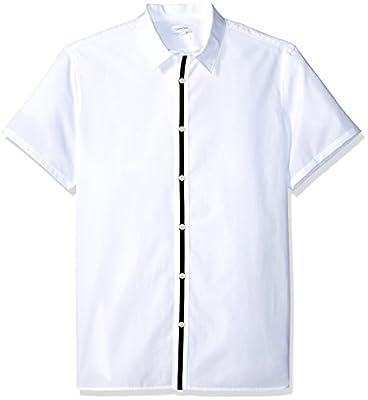 Calvin Klein Men's Short Sleeve Button Down Solid Shirt, White Center Stripe, M