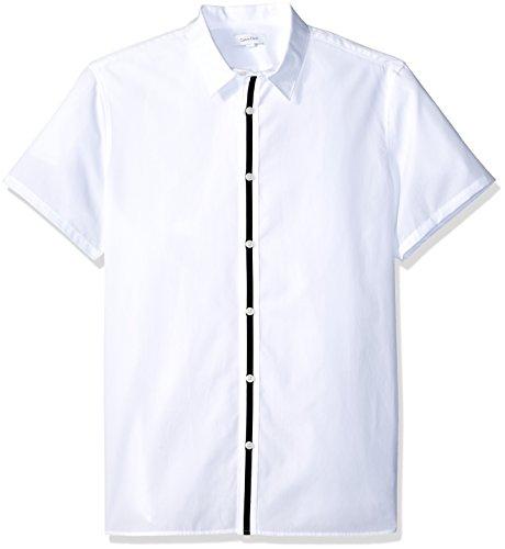 hort Sleeve Woven Button Down Shirt, White Center Stripe, XL (Short Sleeve Center)