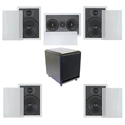 5.1 Home Theater Flush Inwall Speaker Package with Amplified Subwoofer- Four Inwall 6.5