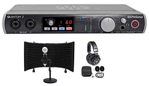 hunderbolt Recording Interface+Headphones+Mic+Stand+Shield ()