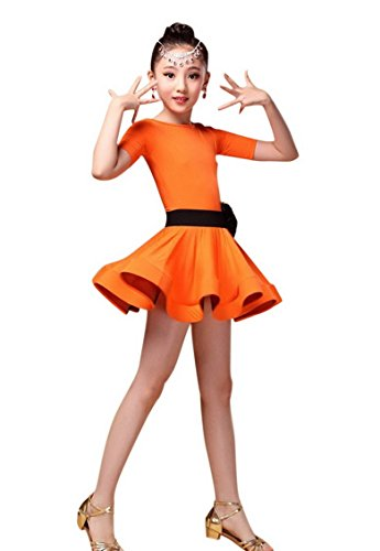 (Happy Cherry Little Girls' Soomthy Breathable Leotard Dance Outfit Active Sports Dress with Flower Wasitband for 8-9Y)