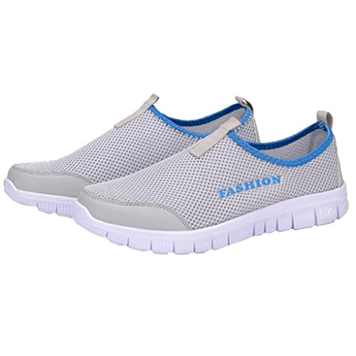 HTHJSCO Mens Lightweight Casual Walking Athletic Shoes Breathable Mesh Running Slip-on Sneakers (40, Gray) (Sandals Womens Bongo)
