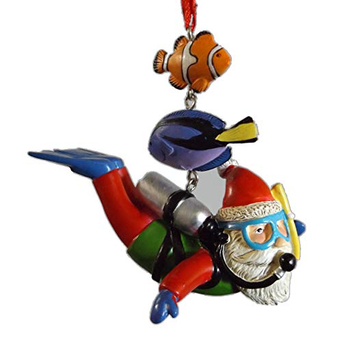 On Holiday Dangle Scuba Santa with Air Tank, Fins, Goggles and Fish Christmas Tree Ornament