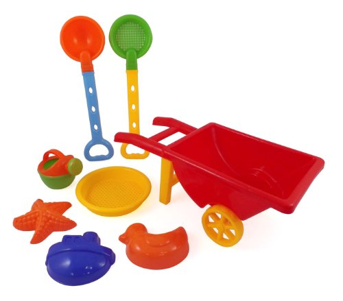 Beach Wheelbarrow Wagon Toy Set for Kids with Sand Shovel & Sifting Pans (Toy Wagon Wheels)