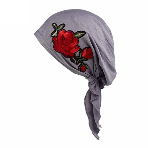 System 1 Pa Profile - Women Stylish Cotton Knitted Print Beanie Hat Elegant Vintage Low-Profile Turban Soft Breathable Stretch Casual Head Wrap (Gray)
