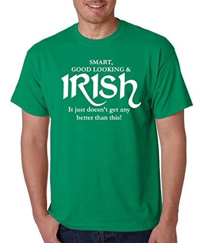 SignatureTshirts Men's St Patricks Day Smart Good Looking & Irish T-Shirt L Kelly Green