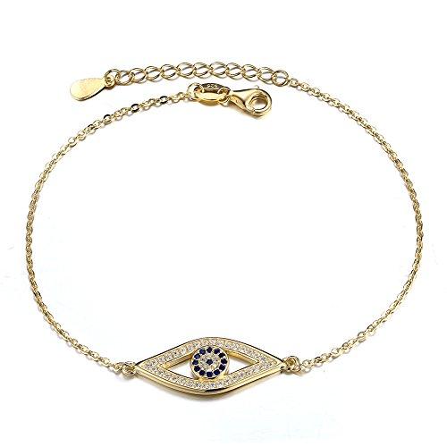 18k Gold Evil Eye - Kaletine Blue Evil Eye Bracelets Sterling Silver 925 Cubic Zirconia Cable Chain 6.5