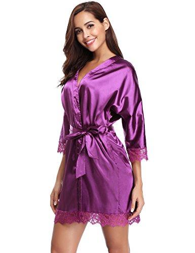 Sexy Hotel Scollo Kimono Donna da Pigiama a Porpora Notte Nozze Accappatoio Notte Raso da Sauna Cintura per Camicia Piscina in Spa con Elegante Vestaglie Aibrou V Donna qn8PwSf