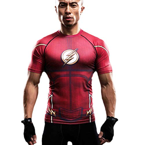 Short Sleeve Flash Compression Workouts Shirt Dri fit Red Costume Shirt 2XL ()