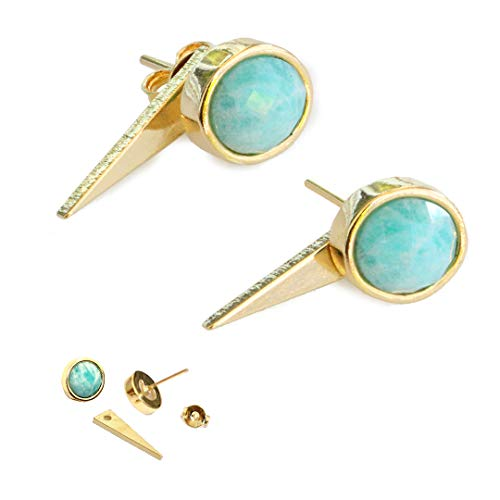 FIRE EAR JACKET EARRINGS For Women | 24K Gold Round Blue Amazonite Gemstone Earrings | 3-Way Convertible | Hypoallergenic | Double Sided | Birthday Wedding Summer Bridesmaid Jewelry gifts 3 Stone Semi Bezel