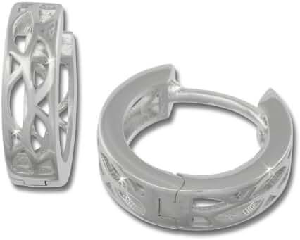 SilberDream earring hoop oval pattern, 925 Sterling Silver SDO3305