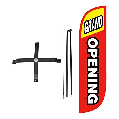 LookOurWay Grand Opening Red & Yellow Feather Flag Complete Set with Poles & X-Stand, 5-Feet (Opening Stand)